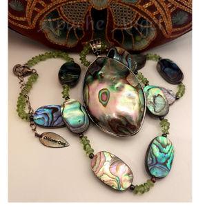ColdWater Creek Abalone / Peridot Necklace